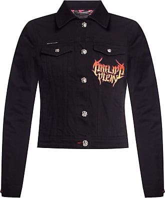 Philipp Plein Denim Jacket With Logo Womens Black