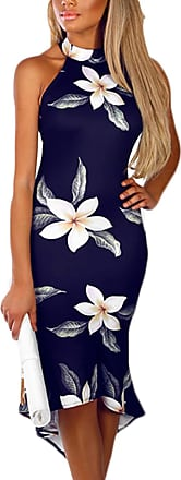 Yoins Women Sleeveless Halter Dress Floral Print Flounced Hem Sexy Bodycon Midi Dresses Party Cocktail Business, Floral-03, XL