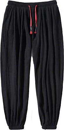 LanFengeu Mens Harem Pants Linen Baggy Trousers Men Casual Loose Joggers Streetwear Hip Hop Trousers Black
