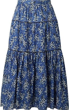 Ulla Johnson Auveline Floral-print Cotton And Silk-blend Midi Skirt - Blue