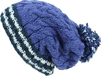 Loud Elephant Chunky Wool Cable Knit Big Baggy Slouch Beanie Bobble Hat with Striped Brim - Blue