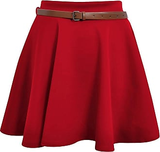 ZEE FASHION Skater Belted Stretch Waist Plain Flippy Flared Jersey Short Skirt Womens Size 8-22