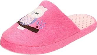 Spot On Ladies Owl Print Mule Slippers X2093 - Fuchsia Textile Fabric - UK Size 7-8 - EU Size 40-41 - US Size 9-10
