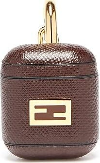 Fendi Ff-logo Snakeskin Airpods Case - Womens - Brown