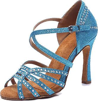 MGM-Joymod Womens Peep Toe Cut-Out Rhinestones Glitter Synthetic Comfort Tango Chacha Latin Modern Dance Shoes Wedding Party Sandals (Blue) 6.5 M UK