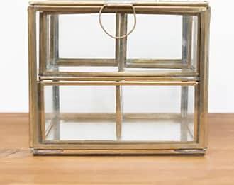 Nkuku Glas und Messing Schmuckschatulle - glass/brass