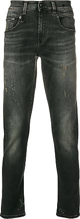 R13 distressed straight leg jeans - Black