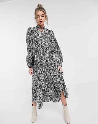 Topshop tiered midi dress in zebra print-Black