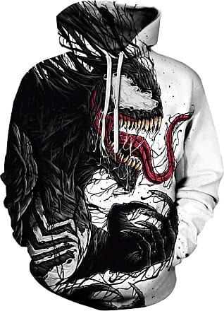 EUDOLAH TDOLAH Mens Sportswear Long Sleeve Sweatshirts Neon Hoodies 3D Print Jumpers S M L XL 2XL 3XL (Tag 2XL/3XL, Venom 1)