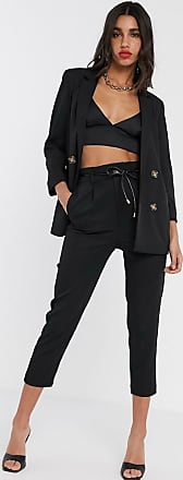 Stradivarius relaxed tailored trouser with belt in black