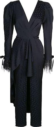 Johanna Ortiz feather trim draped jumpsuit - Preto