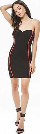 Forever 21 Forever 21 Striped-Trim Tube Dress Black/red