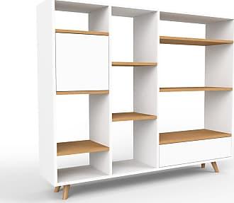 MYCS Bücherregal Weiß - Modernes Regal für Bücher: Schubladen in Weiß & Türen in Weiß - 154 x 130 x 35 cm, konfigurierbar
