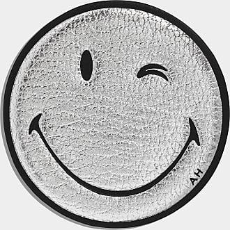 Anya Hindmarch Oversized Wink Sticker Metallic Capra in Silver