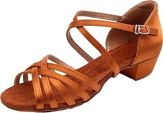Insun Girls Ballroom Dance Shoes Latin Salsa Performance Shoes Suede Sole Brown Satin 2 11.5 UK Child