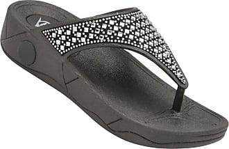 Dunlop Womens Toe Post Verena Fit Flip Flop Low Platform Beach Sandals Black Silver (6 UK, Black)