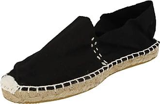 Spot On Ladies Flat Rope Sole Espadrille - Black Canvas - UK Size 3 - EU Size 36 - US Size 5