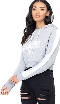 Hype Grey Side Stripe Womens Crop Pullover Hoodie