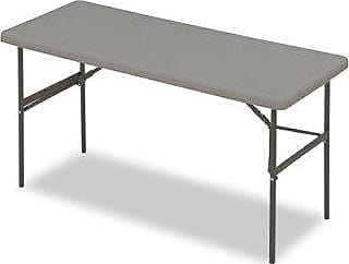 Iceberg 1200 Series IndestrucTable Too Steel Legs Resin Folding Table, 300 lbs Capacity, 60 Length x 24 Width x 29 Height, Charcoal