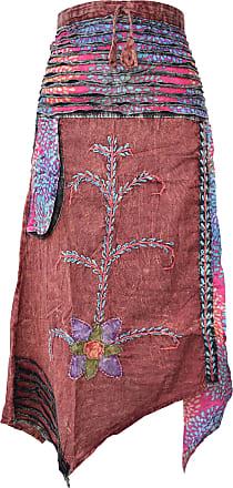 Gheri Hippie Cotton Stonewashed Embroidery Skirts Maroon