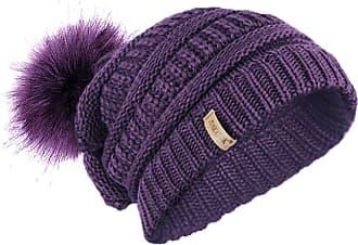 TOSKATOK Ladies Textured Knit Beanie HAT with Detachable Faux Fur POM POM Purple