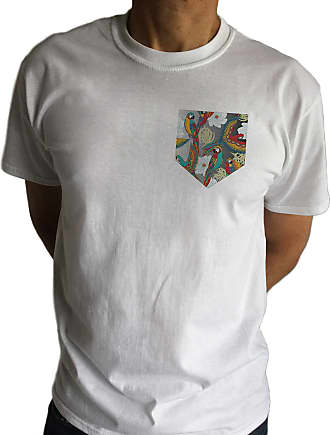 Irony Mens White T-Shirt with Parrots Pocket Print Printed Chest Pocket 100% Cotton C9-8 (Large)