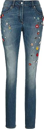 Madeleine Schmale Five-Pocket-Jeans mit Zierstein-Deko in blau MADELEINE Gr 17, bleached für Damen. Baumwolle, Elasthan. Waschbar