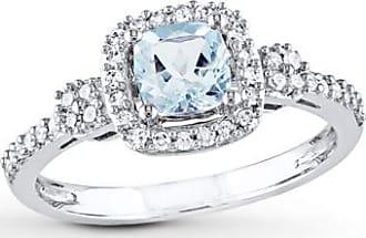 Kay Jewelers Aquamarine Ring 1/5 ct tw Diamonds 10K White Gold