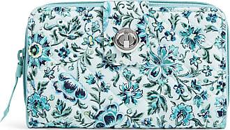 Vera Bradley Womens Iconic Signature Cotton RFID Turnlock Wallet, Cloud Vine, One Size