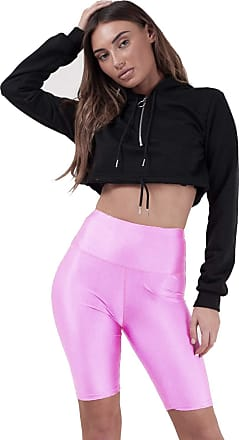 Crazy Girls Womens Cycling Shorts Dancing Neon Super Stretch Shiny High Waist Ladies Pants (12-14, Baby Pink)