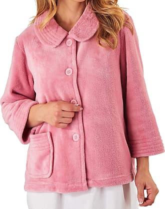 Slenderella Ladies 3/4 Sleeve Soft 260GSM Pink Fleece Button Up Bed Jacket Size XL