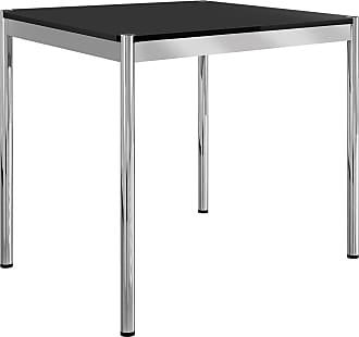 USM Tisch quadratisch 100x100cm - charcoal/Linoleum/Gestell Stahl verchromt/H: 74cm