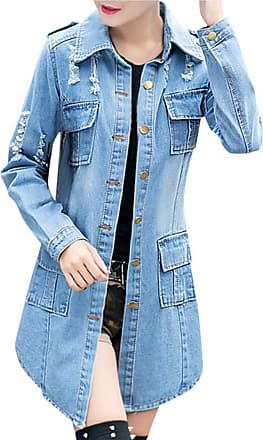 JERFER Women Ripped Long Denim Coat Ladies Casual Jacket Outwear Jeans Overcoat Autumn Cardigan Fall Coat for Womens