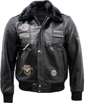 Infinity Mens Black Cow Hide Leather Flight Bomber Jacket with Detachable Collar 3XL