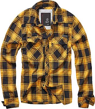Brandit Checkshirt Men Longsleeve Black-Yellow XXL, 100% Cotton, Regular