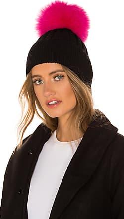 Jocelyn Knit Hat With Fox Fur Pom in Pink