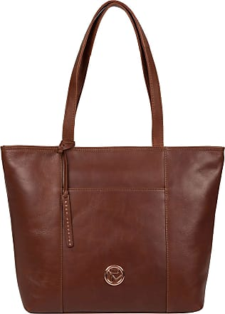 Pure Luxuries London Pure Luxuries London Pimm Womens 38cm Biodegradable Leather Tote Bag with Rose Gold Metal Fittings, Zip Over Top, 100% Natural Cotton Lining and Sliml