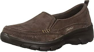 Skechers Womens Easy Going-Matcha-Twin Gore Slip-On Loafer, Chocolate, 9.5 M US