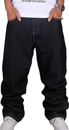 junkai Men Hip Hop Jeans Hipster Style Baggy Jeans Rap Denim Urban Skate Jeans Straight Leg Loose Fit for Teenage Boys (38, Black)