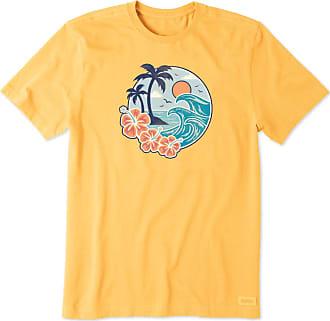Life is good Mens Hibiscus Wave Scene Crusher Tee XXXL Baja Yellow