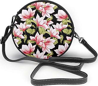 Turfed Beauty Floral Flowers Print Fashion Round PU Crossbody Handbag Round Shoulder Bag For Women Girls