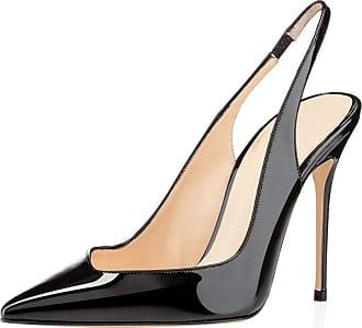 EDEFS Womens Closed Toe Court Shoes Ladies Elegant High Heel Slingback Pumps Black EU37