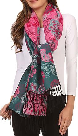 Sakkas CHS1810 - Ontario double layer floral Pashmina/Shawl/Wrap/Stole with fringe - 3-Teal - OS