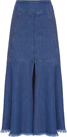 Maria Filó Saia Midi Com Fenda - Azul