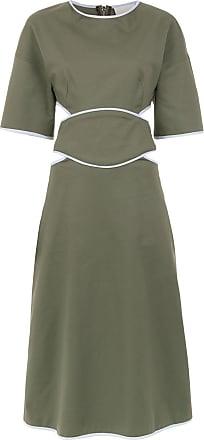 Framed Vestido midi recortes Double Layer - Verde