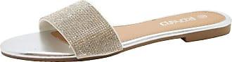 Saute Styles Ladies Summer Beach Sandals Women Diamante Sliders Casual Flats Mules Shoes Size Silver Beach Sliders 4