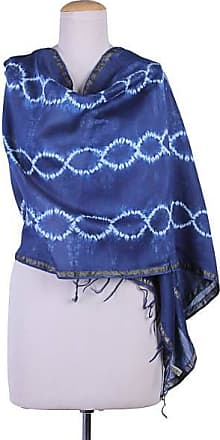 Novica Cotton and silk blend shawl, Indigo Helix f1ea20cd93c