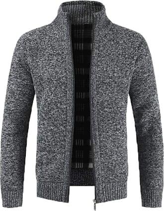 Hellomiko New Thick Needle Plus Velvet Thick Sweater Zipper Cardigan Solid Color Collar Sweater Sweater Jacket Dark Gray