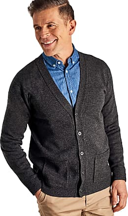 WoolOvers Mens Lambswool V Neck Knitted Cardigan Charcoal, M