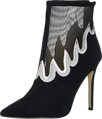 Katy Perry Womens The Libre-MESH/Suede Fashion Boot, Black/Silver, 6.5